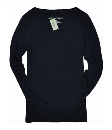 Aeropostale Womens V-neck Solid Long Sleeve Basic T-Shirt navynightblue S