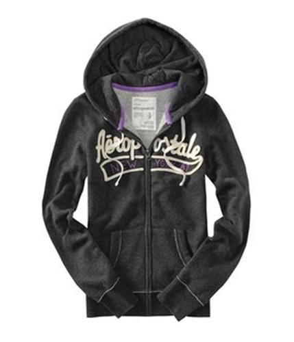 Aeropostale Womens New York 87 Full Zip Hoodie Sweatshirt black XS