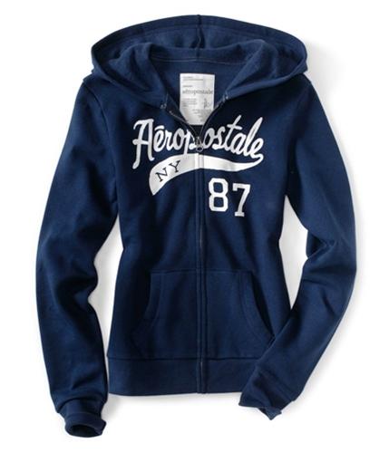 Aeropostale Womens Ny 87 Full Zipper Front Hoodie Sweatshirt navyniblue XS