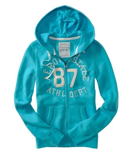Aeropostale Womens Zipped #87 Athletic Dept Hoodie Sweatshirt wave M