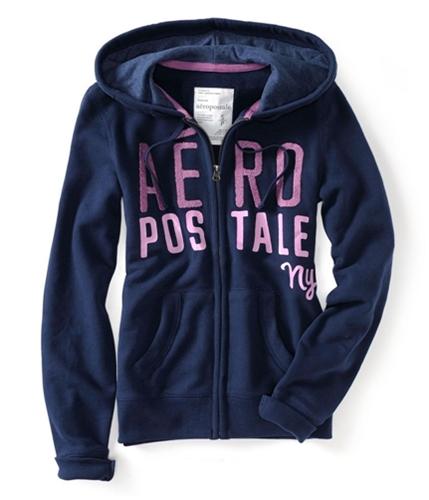 Aeropostale Womens Ny Zip Up Embroidered Hoodie Sweatshirt navyni XS