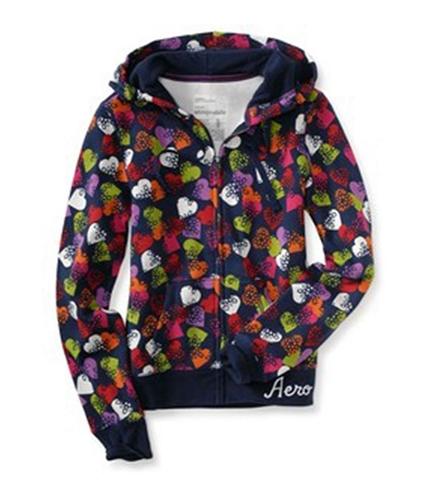 Aeropostale Womens Snowflake Heart Full-zip Hoodie Sweatshirt navyniblue XS