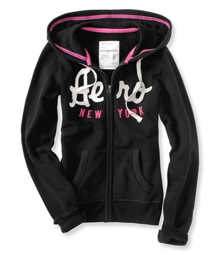 Aeropostale Womens New York Full-zip Hoodie Sweatshirt black XS