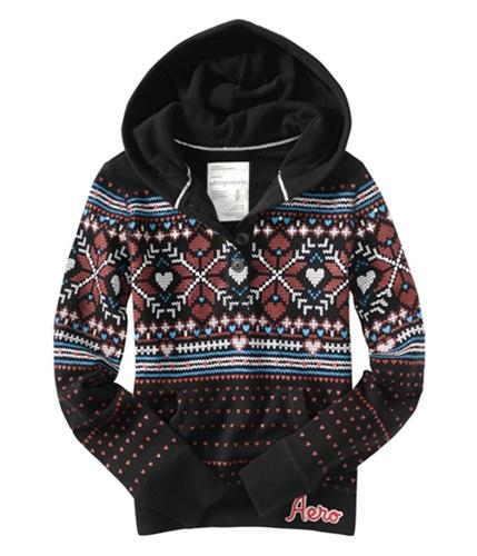 Aeropostale Womens Pull Over 4 Button Hoodie Sweatshirt black XS