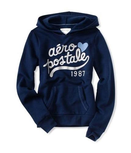 Aeropostale Womens Glitter Heart Popover Hoodie Sweatshirt navyniblue XS