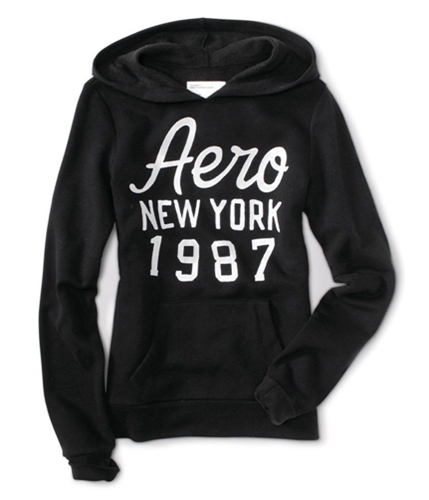 Aeropostale Womens Aero New York 1987 Hoodie Sweatshirt black XS