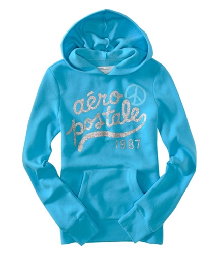 Aeropostale Womens Peace Sign Glitter Popover Hoodie Sweatshirt turquoise XS