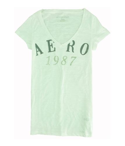 Aeropostale Womens Light Weight V-neck Graphic T-Shirt bleachwhite M