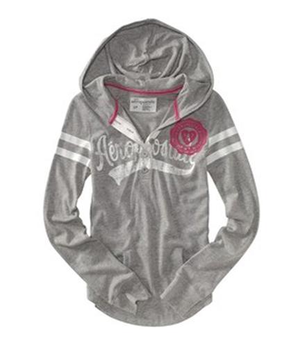 Aeropostale Womens Aero Henley Hoodie Sweatshirt lththr XL
