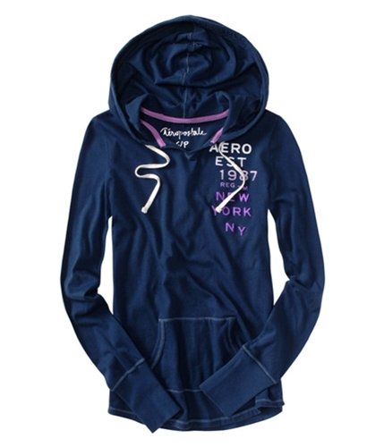 Aeropostale Womens Graphic Design Long Sleeve Hoodie Sweatshirt navyniblue XS