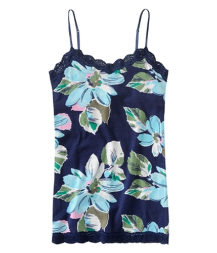 Aeropostale Womens Stretch Floral Lacy Cami Tank Top navyniblue XS