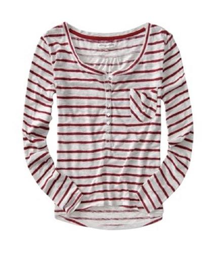 Aeropostale Womens Stripe Henley Shirt chilipepperred L