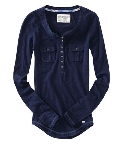 Aeropostale Womens Front Pocket Henley Shirt navyniblue XS