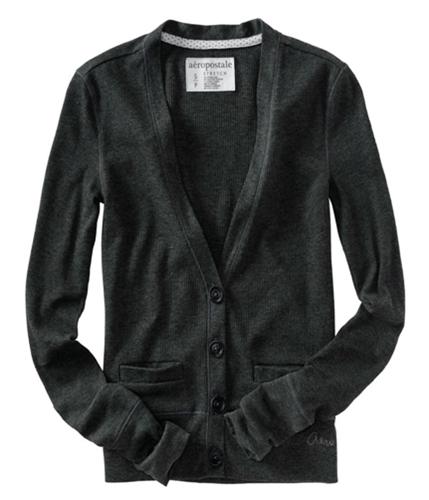 Aeropostale Womens Low V-neck Cardigan Sweater charcoagrey XS