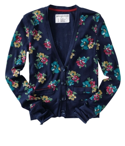 Aeropostale Womens Floral Print Button Up Cardigan Sweater navyniblue XS
