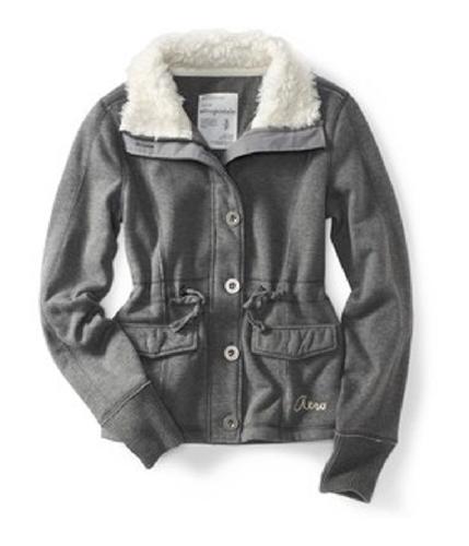 Aeropostale Womens Button Down Fur Lined Fleece Jacket medgray L