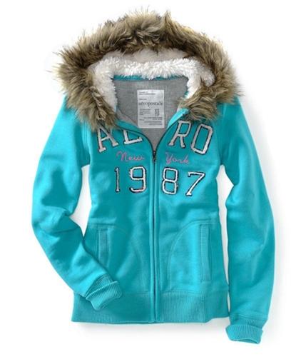 Aeropostale Womens Faux Fur Lined Full Zip Hoodie Sweatshirt prplbl XS