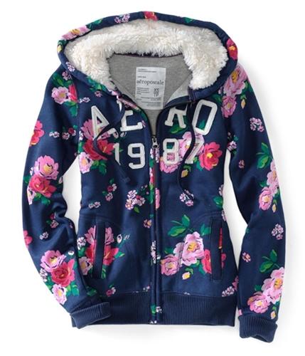 Aeropostale Womens Floral Zip Up Embellished Hoodie Sweatshirt navynightblue S