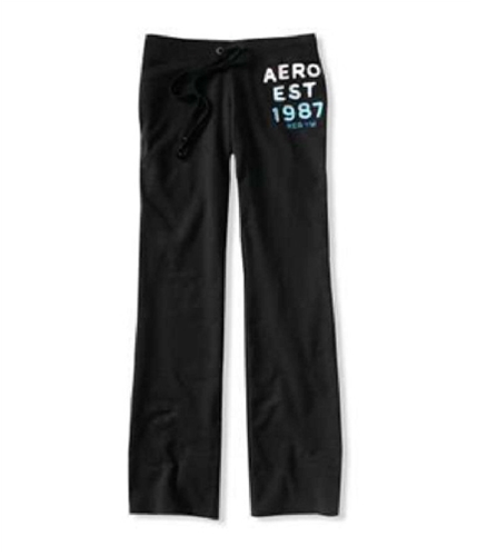 Aeropostale Womens Fit Flare Embroidered Casual Sweatpants black XS/32