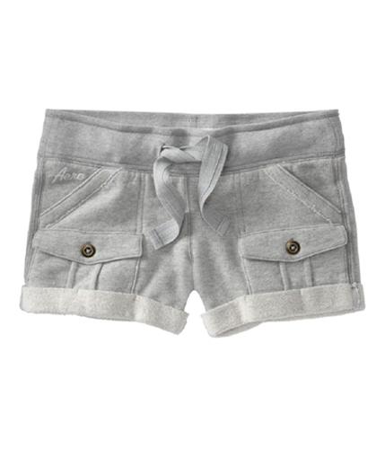 Aeropostale Womens Fleece Cargo Booty Casual Mini Shorts lththrgray XS