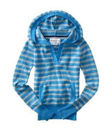 Aeropostale Womens Stripe Hooded Sweater blueme S