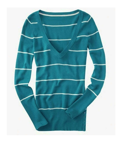 Aeropostale Womens Stripe V-neck Knit Sweater peacockgreen XS