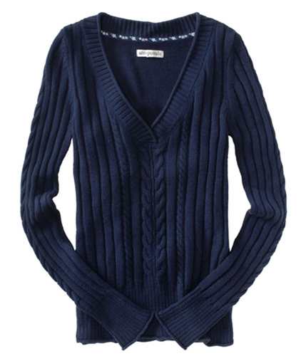 Aeropostale Womens Pull Over Ted V-neck Knit Sweater navyniblue XS
