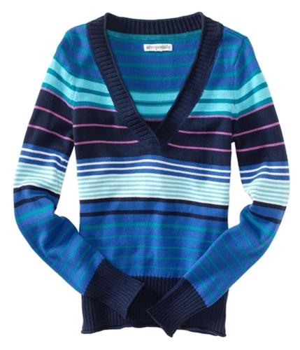 Aeropostale Womens Multicolortripe V-neck Pullover Sweater seaportblue XS
