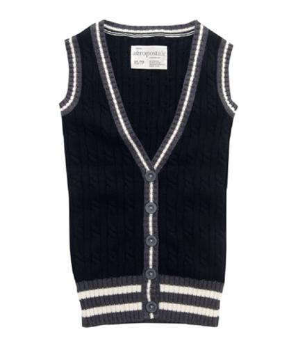 Aeropostale Womens V-neck Button Front Sweater Vest black M
