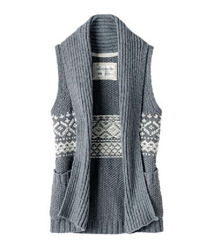 Aeropostale Womens Sleeveless Knit Cardigan Sweater mediumgray L