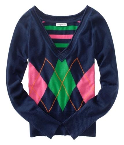 Aeropostale Womens V-neck Argyle Cardigan Sweater navyni XS