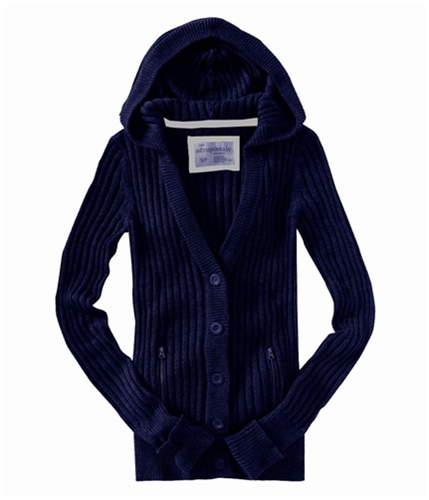 Aeropostale Womens Button Down Hooded Sweater navyniblue XS