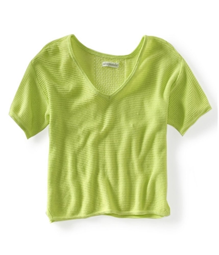 Aeropostale Womens Ss Cropped Eyelet Knit Sweater 771 S