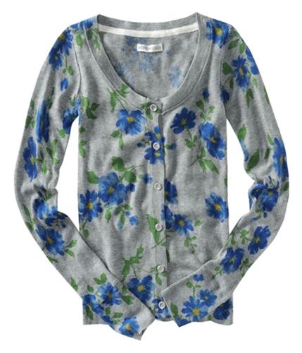 Aeropostale Womens Long Sleeve Floral Print Cardigan Sweater lththrgray XS
