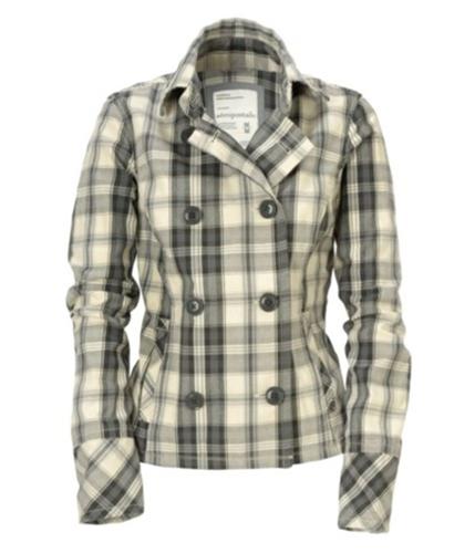 Aeropostale Womens Plaid Cotton Pea Coat malted S