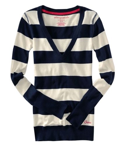 Aeropostale Womens Stripe Knit Sweater navyni S