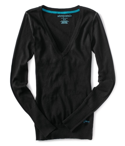 Aeropostale Womens Aero V-neck Cardigan Sweater black XS