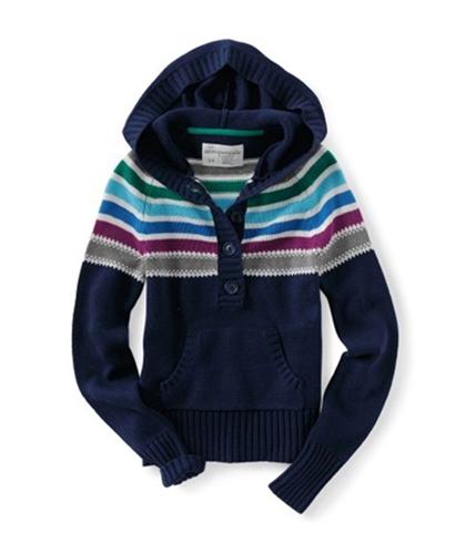 Aeropostale Womens Hooded Cardigan Sweater navyniblue XS