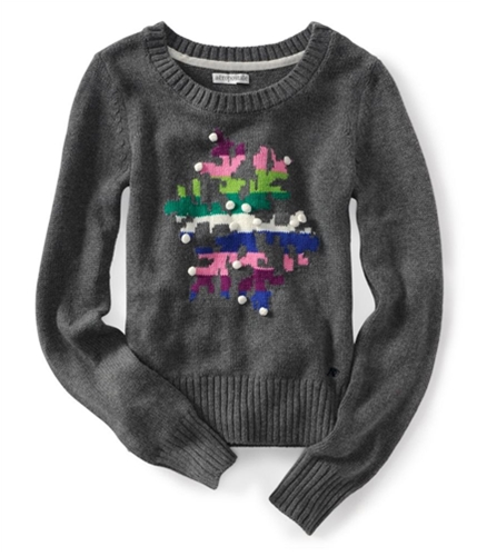 Aeropostale Womens Pull Over Ted Knit Sweater medgre S