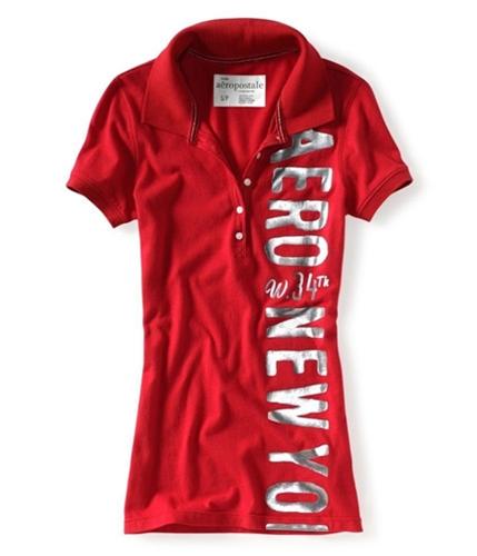 Aeropostale Womens Graphic Sleeve Polo Shirt redcla XS