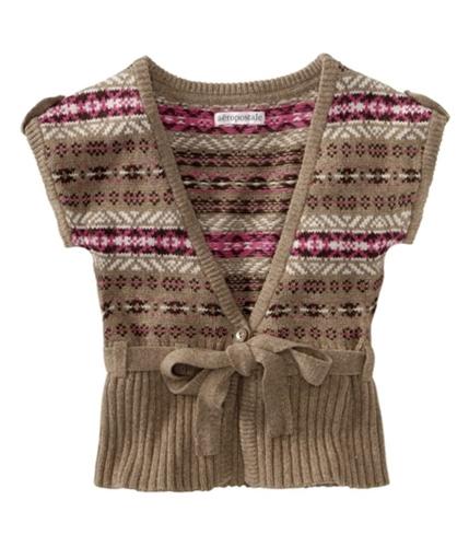 Aeropostale Womens Knit Cardigan Sweater brownl XS