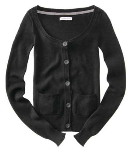 Aeropostale Womens Button Down Cardigan Sweater black M