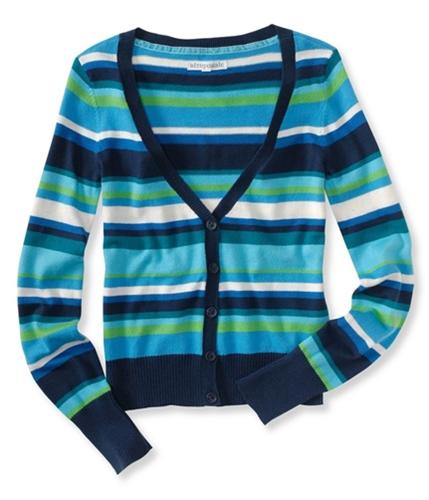 Aeropostale Womens Button Downtriped Cardigan Sweater navynightblue XS