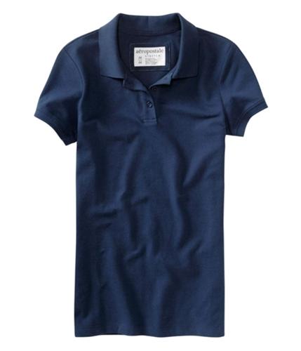 Aeropostale Womens Solid 3 Button Polo Shirt navynightblue M