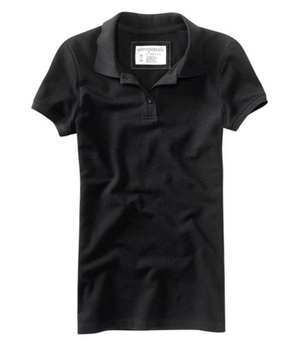 Aeropostale Womens Solid Uniform Polo Shirt black XS