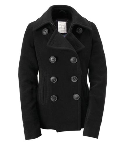 Aeropostale Womens Solid Pea Coat black M