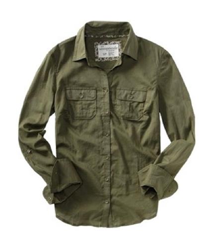 Aeropostale Womens Aero Button Up Shirt bluegreen M