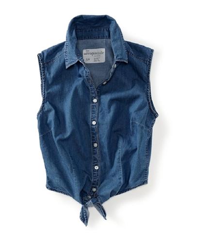 Aeropostale Womens Sleeveless Button Up Shirt 790 XS