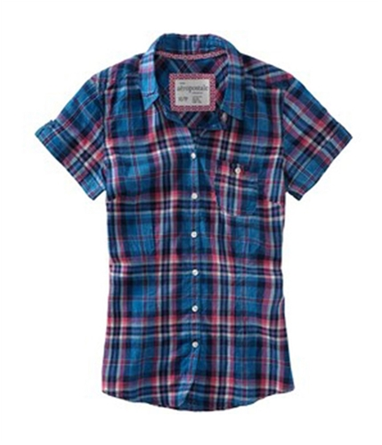 Aeropostale Womens Plaid Pocket Button Up Shirt navyni XS
