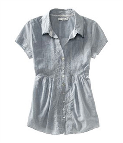Aeropostale Womens Pinstripe Pleated Button Up Shirt navyni L